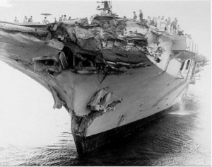 Damage to the HMAS Melbourne after colliding with the USS Frank E Evans