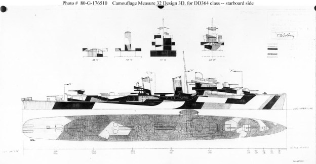 Drawing prepared for the Bureau of Ships of the Measure 32, Design 3D scheme
