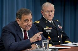 Secretary of Defense Leon E. Panetta and chairman of the Joint Chiefs of Staff, General Martin Dempsey, brief the press at the Pentagon, Jan. 10, 2013. DoD Photo