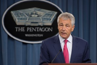 Secretary of Defense Chuck Hagel during a Pentagon press briefing on March 15, 2013. DOD Photo