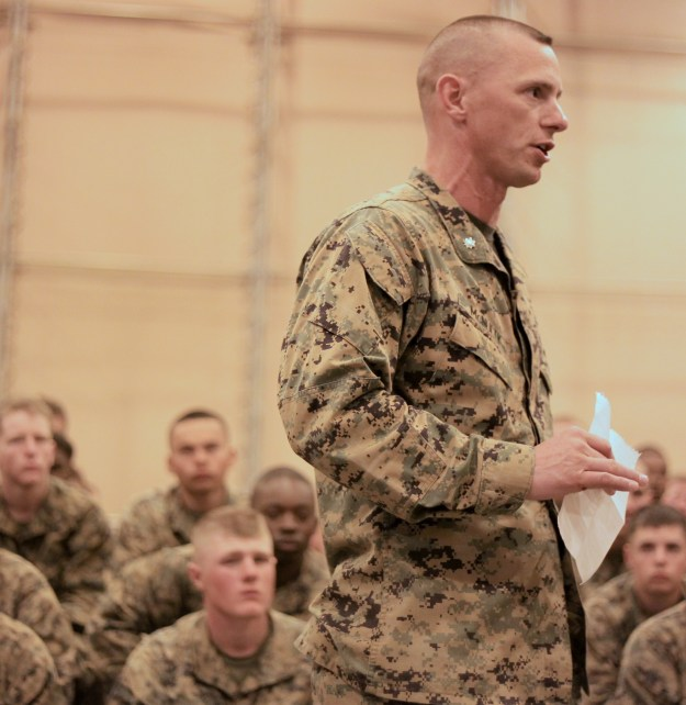 Lt. Col. Andrew J. McNulty speaks to 1st Battalion, 9th Marine Regiment service members during a memorial ceremony March 21, 2013. McNulty was relieved of command on Wednesday. US Marine Corps Photo