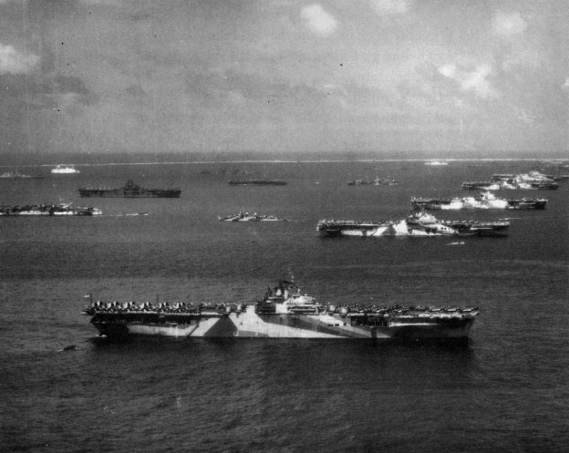 U.S. Third Fleet aircraft carriers at anchor in Ulithi Atoll, 8 December 1944