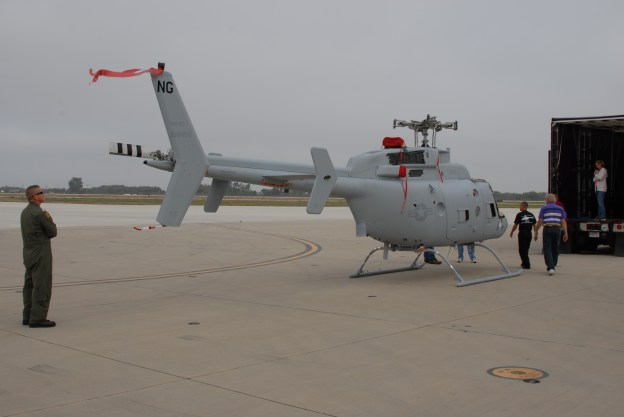 The Navy atkes delivery of the first MQ-8C Fire Scout at Naval Air Station Point Mugu, Calif. on July 19, 2013. Northrop Grumman Photo