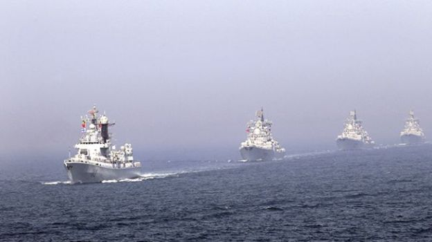 People's Liberation Army Navy guided missile destroyers in April, 2012. PLAN Photo