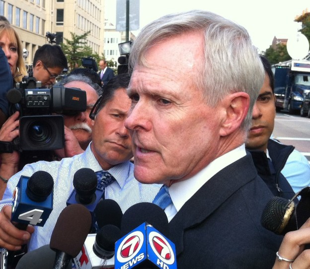 Secretary of the Navy Ray Mabus interviewed by reporters near the Washington Navy Yard on Sept. 16, 2013. US Navy Photo
