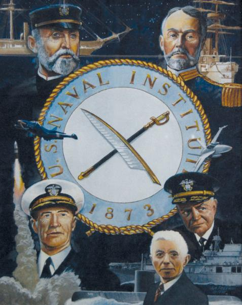 U.S. Naval Institute contributors clockwise from top right: W.S. Sims, William F. Halsey, Hyman Rickover, Ernest J. King and Alfred Thayer Mahan. Illustration by Tom W. Freeman