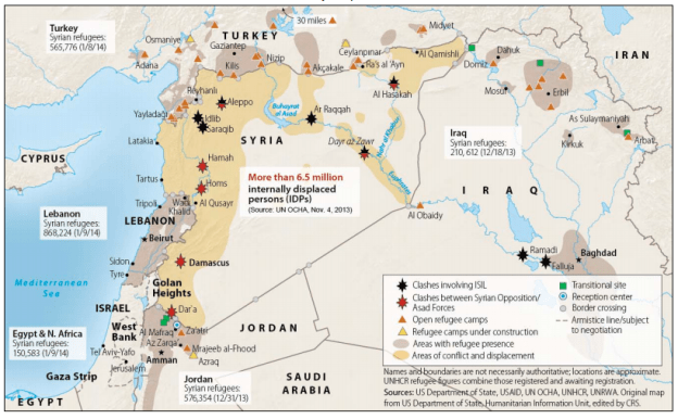 A map of the Syrian conflict and the displaced refugees. US State Department Graphic