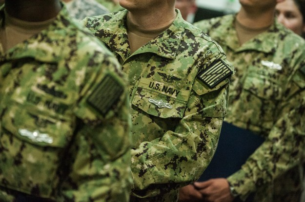 Sailors wearing the Navy's Enlisted Information Dominance Warfare Specialist pin. US Navy photo