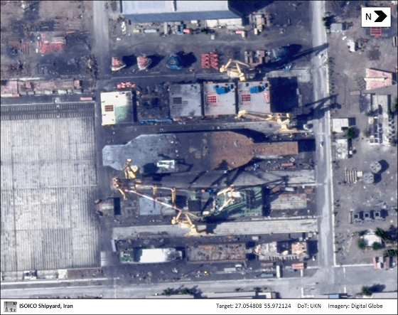 A commercial satellite image of the Nimitz-class carrier mockup under construction in Iran. Digital Globe Photo