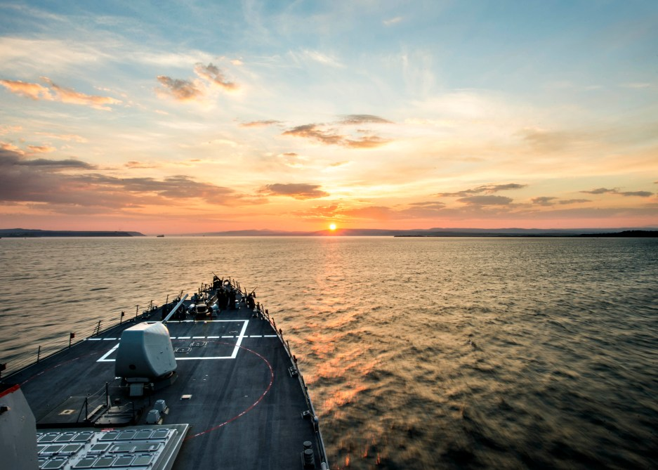 Arleigh Burke-class guided-missile destroyer USS Donald Cook (DDG-75) transits the Dardanelles en route to the Black Sea. US Navy Photo