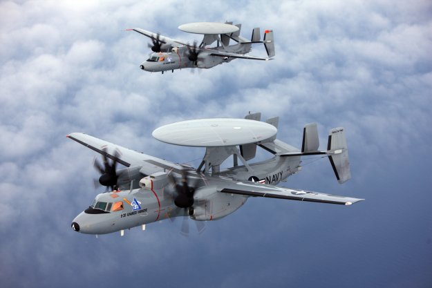 E-2D Advanced Hawkeye aircraft conduct a test flight in 2009. The Navy included one more E-2D in its unfunded priorities list submitted to Congress this week. US Navy Photo