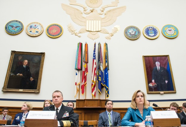 Navy Adm. James A. Winnefeld Jr., vice chairman of the Joint Chiefs of Staff, and Christine E. Wormuth, deputy undersecretary of defense for strategy, plans and force development, testify before the House Armed Services Committee on the 2014 Quadrennial Defense Review in Washington, D.C., April 3, 2014. DOD Photo