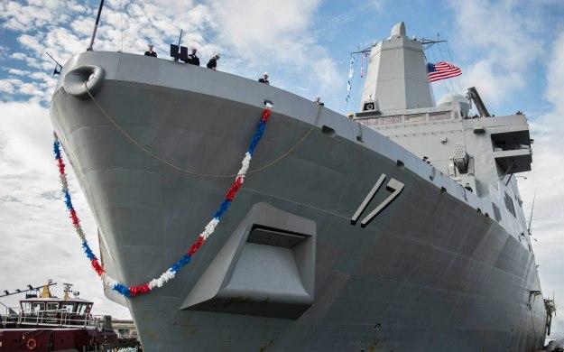 USS San Antonio (LPD 17) prepares to moor in Norfolk, Va. in 2013. US Navy Photo