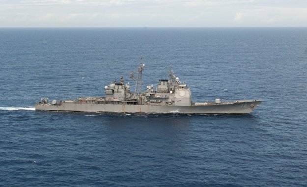 USS Vella Gulf (CG-72) transits the Atlantic Ocean on March 19, 2014. US Navy Photo