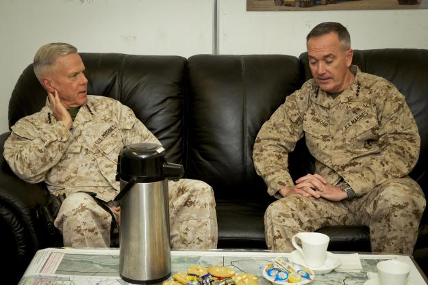 Current USMC Commandant Gen. James Amos and Dunford in Afghanistan on Feb. 18, 2014. US Marine Corps Photo
