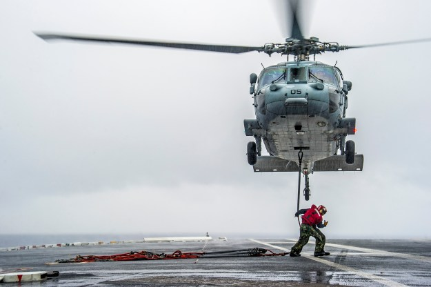 MH-60S helicopter from the Island Knights of Helicopter Sea Combat Squadron (HSC) 25 on May 30, 2014. US Navy Photo