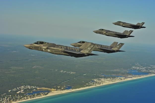 F-35A Lightning IIs from the 58th Fighter Squadron, 33rd Fighter Wing, Eglin AFB, Fla., perform an aerial refueling mission May 14, 2013, off the coast of northwest Florida. US Air Force Photo
