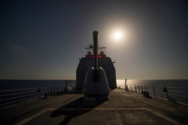 USS Vella Gulf (CG 72) transits the Aegean Sea on July, 6 2014. US Navy Photo