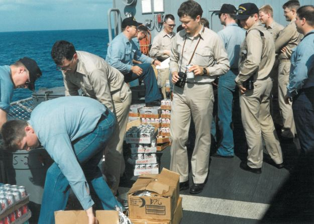 Sailors on USS Normandy enjoy a rare beer. With limited exceptions, ships in the US Navy have had no alcohol for a hundred years. US Naval Institute Archives