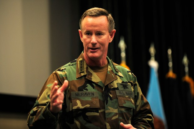 Adm. William H. McRaven, the outgoing U.S. Special Operations Command, addresses the audience during the USSOCOM change of commander ceremony at MacDill Air Force Base, Fla. in 2011. DoD Photo