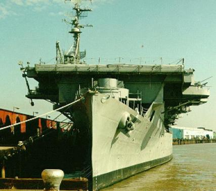 USS Cabot (CVL-28) pier side in New Orleans