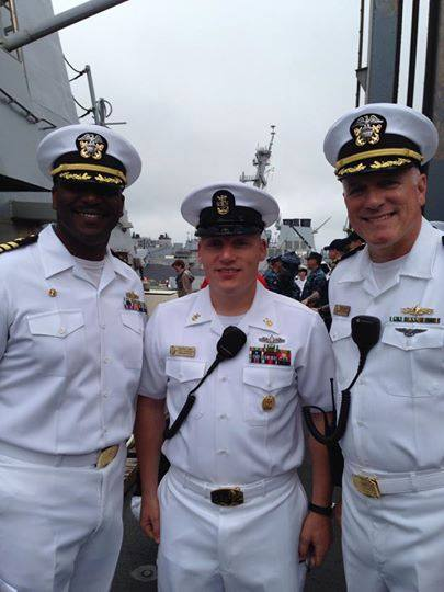 May 31, 2014 photo of Cmdr. Curtis B. Calloway, Command Master Chief Travis Biswell and Cmdr. Ed Handley from the ship's ombudsman Facebook page.