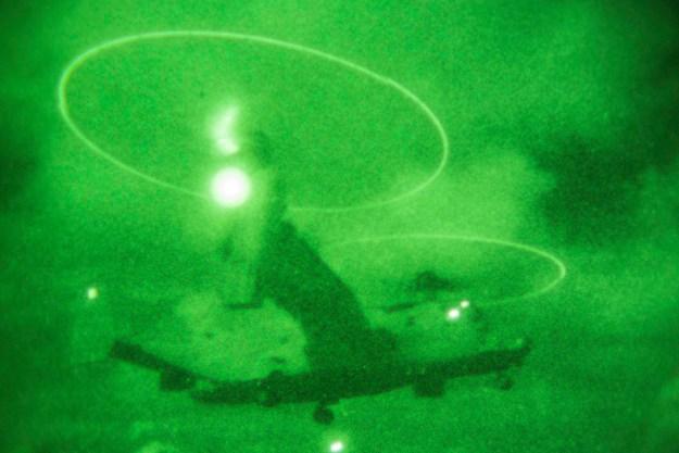 U.S. Marine Corps MV-22 Osprey Tilt Rotor Aircraft, belonging to Marine Tilt Rotor Squadron 262, takes off from the flight deck of the USS Peleliu, at sea, Sept 5, 2014. US Marine Photo