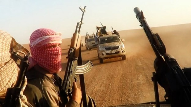 Islamic State of Iraq and Syria (ISIS or ISIL) fighters in Iraq.