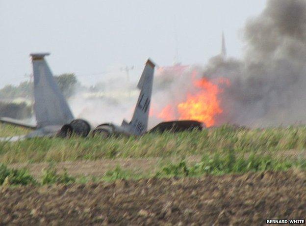 Photo of the F-15D crash site via the BBC.