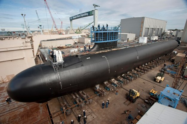 Virginia-class attack submarine Minnesota (SSN-783) under construction in 2012. US Navy Photo