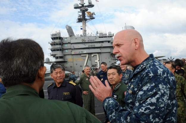 Vice Adm. Scott Swift, then commander of U.S. 7th Fleet, aboard the aircraft carrier USS George Washington in 2012. US Navy Photo