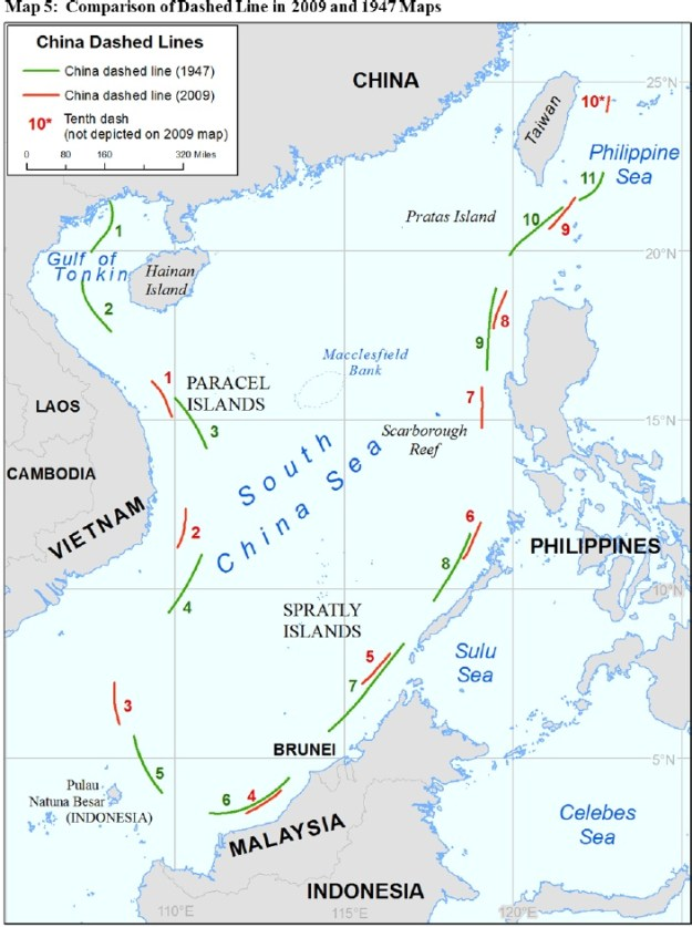 A map of China's shifting definition of the so-called Nine-Dash Line. US State Dept. Image