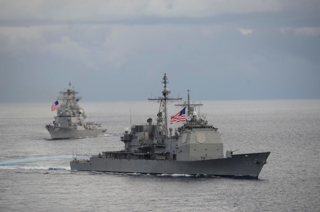 USS Normandy (CG-60) and the guided-missile destroyer USS Farragut (DDG-99) on Sept. 23, 2014. US Navy Photo
