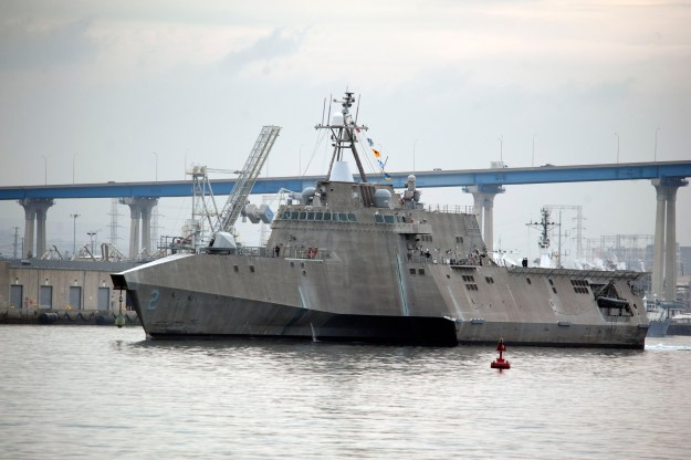 USS Independence (LCS 2) departs San Diego for Pensacola, Fla., to conduct operational evaluation and testing of the mine countermeasures mission package. US Navy Photo