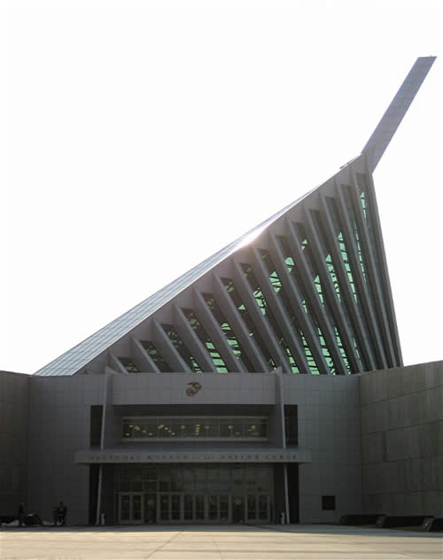 Opened in 2006, The National Museum of the Marine Corps in Triangle, VA, was designed to evoke the raising of the flag.