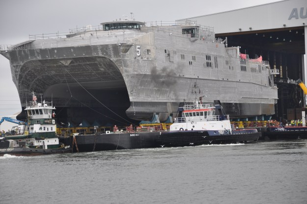 USNS Trenton (JHSV 5) rolls out in preparation for launch at Austal USA shipyard on Sept. 30, 2014. US Navy Photo