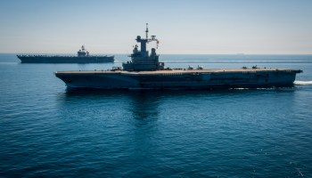 An Aerial View Shows The Charles De Gaulle Aircraft Carrier On In Eastern Mediterranean Sea