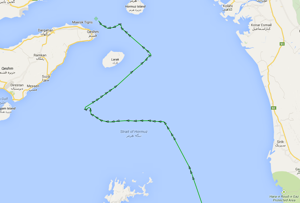 The track of the M/V Maersk Tigris before and after the seizure by IRGCN forces. Screen grab from MarineTraffic.com
