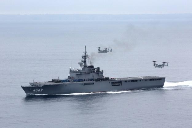Japanese ship Shimokita operates U.S Marine V-22 Osprey aircraft near San Diego Calif. in 2013. US Navy Photo