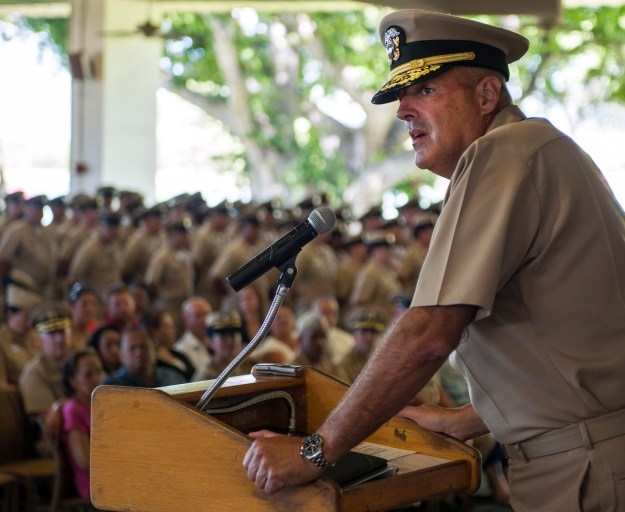 Rear Adm. Robert Girrier, deputy commander of U.S. Pacific Fleet, addresses chief selects during a chief pinning ceremony at Hickam Officer's Club Lanai at Joint Base Pearl Harbor-Hickam on Sept. 16, 2015. US Navy Photo