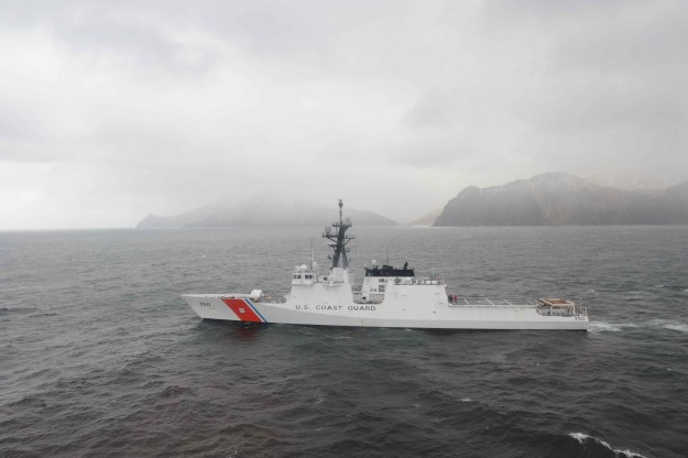 The Coast Guard Cutter Bertholf departs from Dutch Harbor May 9, 2011, to continue its first Alaska patrol in the Bering Sea. US Coast Guard Photo