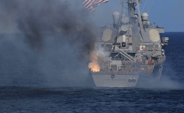 The resulting fire on USS The Sullivans (DDG-68) following the explosion of a Raytheon SM-2 Block IIIA guided missile. US Navy Photo obtained by USNI News