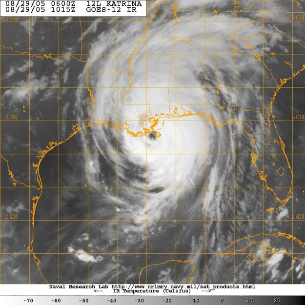 Satellite image provided by the U.S. Naval Research Laboratory, Monterey, Calif., showing the status of Hurricane Katrina, at 1015Z or just after 5am EST on Aug. 25, 2015. US Navy Photo