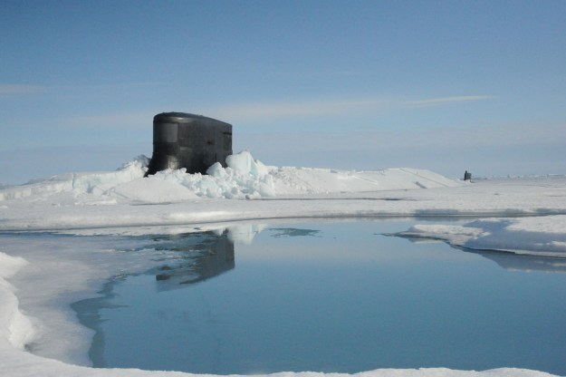 Fast attack submarine USS Seawolf (SSN-21) surfaces through Arctic ice at the North Pole on July 30, 2015. US Navy Photo