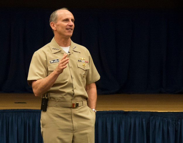 150805-N-AT895-015 WASHINGTON (Aug. 5, 2015) Chief of Naval Operations (CNO) Adm. Jonathan Greenert and Master Chief Petty Officer of the Navy (MCPON) Mike Stevens hold an all-hands call with members of the N2/N6 directorate at the Pentagon. (U.S. Navy photo by Mass Communication Specialist 1st Class Nathan Laird/Released)