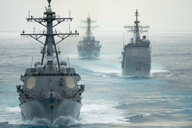 The guided-missile destroyers USS Russel (DDG-59), USS Chung Hoon (DDG-93) and the guided-missile cruiser USS Mobile Bay (CG-53) on Aug. 11, 2015.