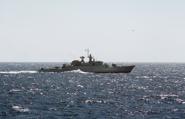 A starboard beam view of an Iranian Alvand class frigate underway. US Navy Photo