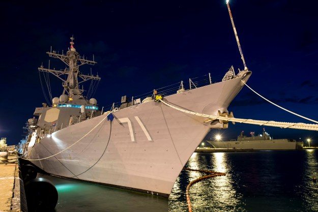 The guided-missile destroyer USS Ross (DDG 71) sits moored in Rota, Spain on June 9, 2015. US Navy photo.