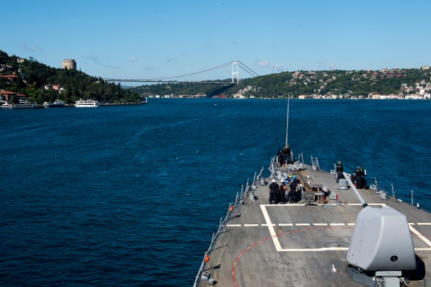 Guided-missile destroyer USS Donald Cook (DDG-75) transits the Bosphorus Strait en route to the Black Sea on Aug. 28, 2015. US Navy Photo
