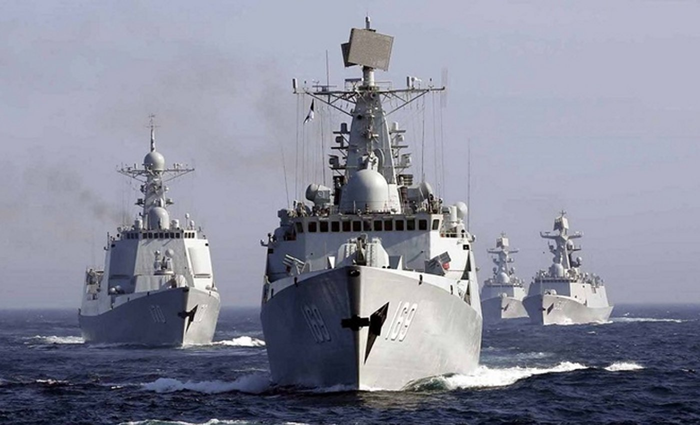 A photo of Chinese People's Liberation Army Navy warships in 2014.